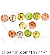 Clipart Of Spring Is Here Orange Tan Yellow And Green Buttons Royalty Free Vector Illustration