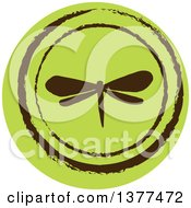 Clipart Of A Distressed Round Green Dragonfly Spring Time Icon Royalty Free Vector Illustration by Cherie Reve