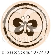 Distressed Round Tan Butterfly Spring Time Icon
