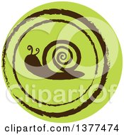 Distressed Round Green Snail Spring Time Icon