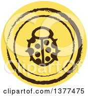 Distressed Round Yellow Ladybug Spring Time Icon