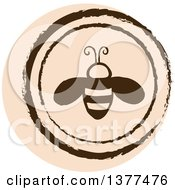 Clipart Of A Distressed Round Tan Bee Spring Time Icon Royalty Free Vector Illustration