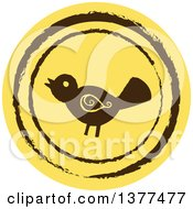 Distressed Round Yellow Bird Spring Time Icon