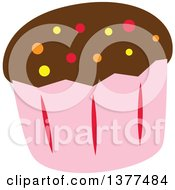 Clipart Of A Cupcake In A Pink Wrapper With Chocolate Frosting And Colorful Sprinkles Royalty Free Vector Illustration by Cherie Reve
