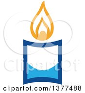 Clipart Of A Lit Blue Hanukkah Candle Royalty Free Vector Illustration