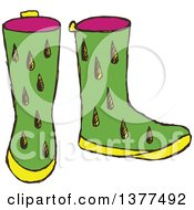 Clipart Of A Sketched Pair Of Rubber Boots Royalty Free Vector Illustration