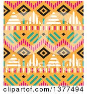 Seamless Tribal Background Pattern Over Orange
