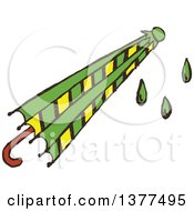 Clipart Of A Sketched Wet Umbrella Royalty Free Vector Illustration by Cherie Reve