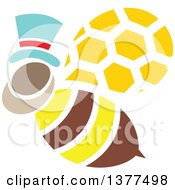 Clipart Of A Male Bee Flying And Wearing A Hat Royalty Free Vector Illustration