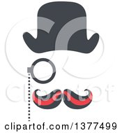 Clipart Of A Detective Face With A Curling Mustache Hat And Monocle Royalty Free Vector Illustration