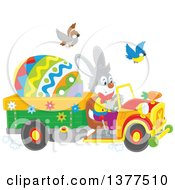 Clipart Of A Happy Easter Bunny Rabbit Driving A Truck With A Giant Egg Royalty Free Vector Illustration