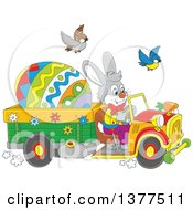 Clipart Of A Gray Easter Bunny Rabbit Driving A Truck With A Giant Egg Royalty Free Vector Illustration by Alex Bannykh