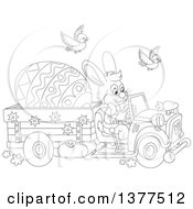 Clipart Of A Black And White Easter Bunny Rabbit Driving A Truck With A Giant Egg Royalty Free Vector Illustration