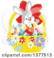 Clipart Of A Happy Easter Bunny Rabbit Welcoming Inside A Basket With Eggs Royalty Free Vector Illustration