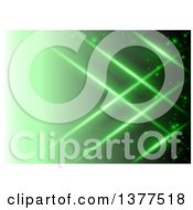 Clipart Of A Background Of Crossing Lights Over Green Royalty Free Vector Illustration