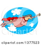 Clipart Of A Chubby White Female Super Hero Flying Against A Sky Oval Royalty Free Vector Illustration
