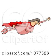 Clipart Of A Chubby White Female Super Hero Flying Royalty Free Vector Illustration