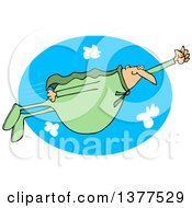 Chubby White Male Super Hero Flying In A Green Suit Over A Sky Oval