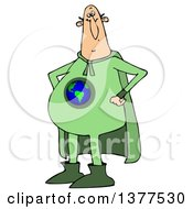 Clipart Of A Chubby White Male Super Hero Standing With His Hands On His Hips Wearing A Green Earth Suit Royalty Free Vector Illustration
