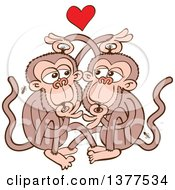 Clipart Of A Monkey Couple Eating Lice And Falling In Love Royalty Free Vector Illustration by Zooco