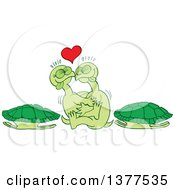 Clipart Of A Pair Of Turtles Making Love Outside Of Their Shells Royalty Free Vector Illustration