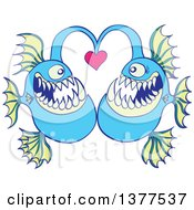 Clipart Of A Pair Of Abyssal Fishes In Love Royalty Free Vector Illustration by Zooco