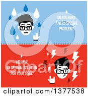 Clipart Of A Flat Design Man With Do You Have A Very Special Problem We Have An Optimal Solution For Your Issue Text Royalty Free Vector Illustration by elena