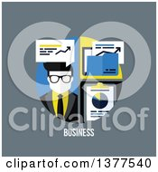 Clipart Of A Flat Design Man With Charts And Business Text On Gray Royalty Free Vector Illustration by elena