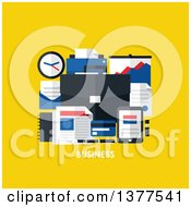 Flat Design Briefcase And Office Accessories Over Business Text On Yellow