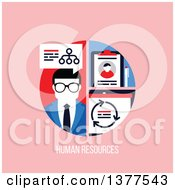 Clipart Of A Flat Design Business Man With A Network And Clipboard Over Human Resources Text On Pink Royalty Free Vector Illustration by elena
