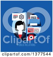 Flat Design Business Woman With A Printer And Telephone Over Public Relations Text On Blue