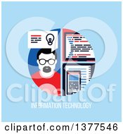 Flat Design Man With A Smart Phone And Computer Over Information Technology Text On Blue