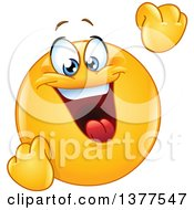 Clipart Of A Celebrating And Cheering Happy Yellow Smiley Face Emoticon Emoji Royalty Free Vector Illustration
