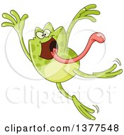 Clipart Of A Happy Frog Jumping With His Tongue Hanging Out Royalty Free Vector Illustration