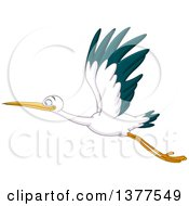 Clipart Of A Stork Bird Flying To The Left Royalty Free Vector Illustration by yayayoyo
