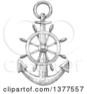Clipart Of A Black And White Sketched Anchor And Helm Royalty Free Vector Illustration by Vector Tradition SM