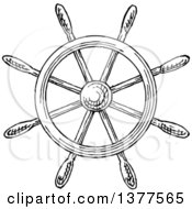 Clipart Of A Black And White Ship Steering Helm Royalty Free Vector Illustration by Vector Tradition SM