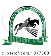Clipart Of A Black Silhouetted Rider On A Horse Laping Over A Fence Inside A Green Star Arch And Banner Royalty Free Vector Illustration