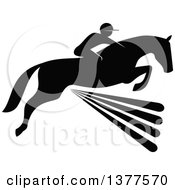 Clipart Of A Black And White Silhouetted Rider On A Horse Laping Over A Fence Royalty Free Vector Illustration