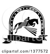 Clipart Of A Black And White Silhouetted Rider On A Horse Laping Over A Fence Inside A Star Arch And Banner Royalty Free Vector Illustration