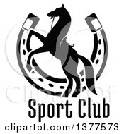 Clipart Of A Black And White Silhouetted Saddled Horse Rearing Over A Horseshoe And Text Royalty Free Vector Illustration by Vector Tradition SM
