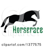 Clipart Of A Black Silhouetted Horse Leaping Over Green Text Royalty Free Vector Illustration