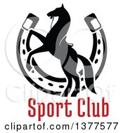Clipart Of A Black Silhouetted Saddled Horse Rearing Over A Horseshoe And Text Royalty Free Vector Illustration by Vector Tradition SM