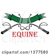 Clipart Of Black And White Equestrian Riding Crop Whips Over A Blank Green Banner Over Red Text Royalty Free Vector Illustration