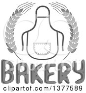 Grayscale Bib Or Apron In A Wheat Wreath Over Bakery Text