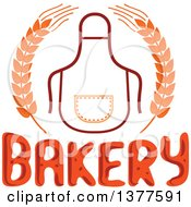 Clipart Of A Bib Or Apron In A Wheat Wreath Over Bakery Text Royalty Free Vector Illustration