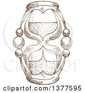 Clipart Of A Brown Sketched Hourglass Royalty Free Vector Illustration