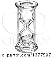 Clipart Of A Black And White Sketched Hourglass Royalty Free Vector Illustration by Vector Tradition SM