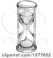 Clipart Of A Black And White Sketched Hourglass Royalty Free Vector Illustration
