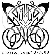 Clipart Of A Black And White Celtic Knot Butterfly Royalty Free Vector Illustration